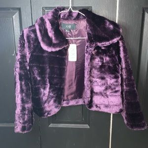 Purple fuzzy crop jacket